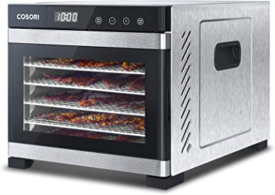 COSORI Premium Food Dehydrator Machine(50 Free Recipes), 6 Stainless Steel Trays with Digital Timer and Temperature Control for Beef,Jerky,Fruit,Dog Treats,Herbs,ETL Listed/FDA Compliant