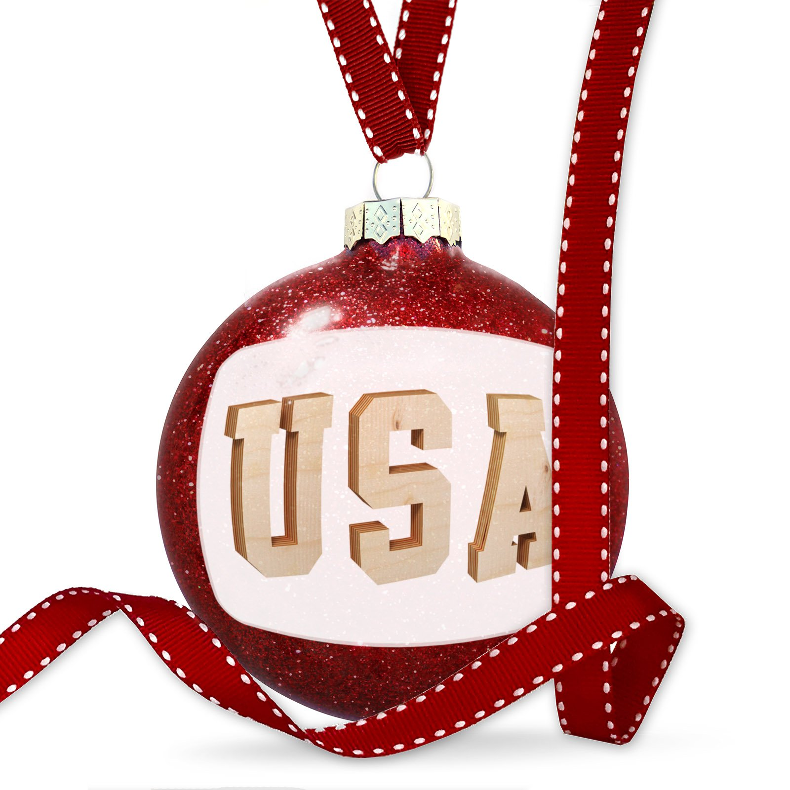 Christmas Decoration USA Plywood wood Lettering Ornament