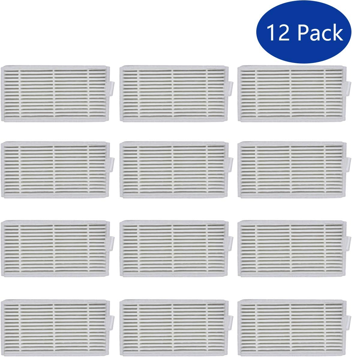 ApplianPar Pack of 12 Air Filter Replacement for Ilife V3s, V3s pro, V5 and V5s, V5s Pro Robotic Vacuum Cleaner