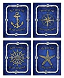 Wallables Blue Nautical Wall Art, Set of Four