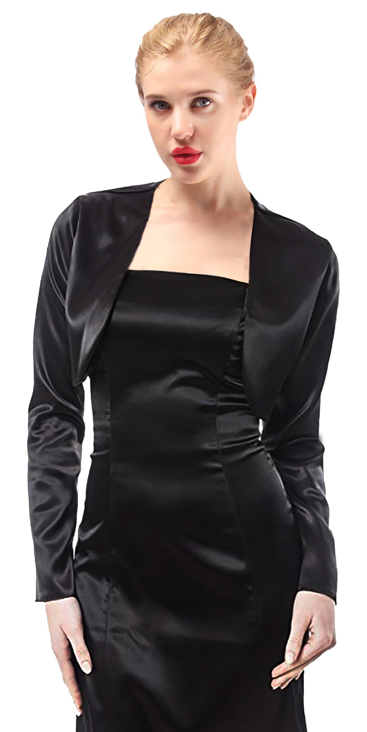 Alivila.Y Fashion Womens Satin Long Sleeve Bolero Shrug Jacket Cardigan A29-Black-XL