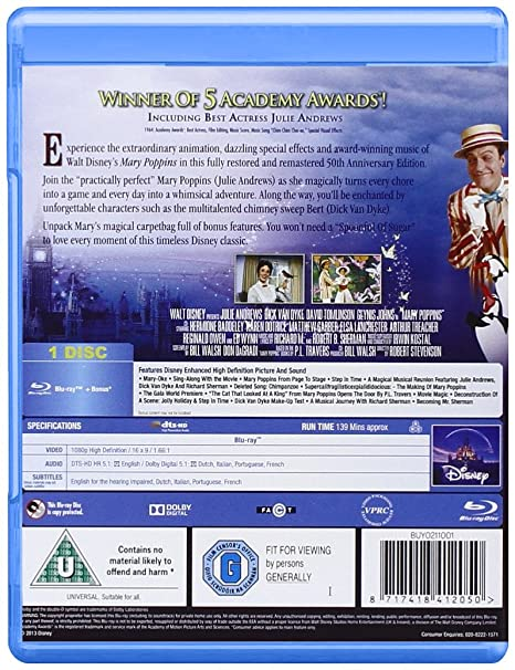 950e03456ade Mary Poppins 50th Anniversary Edition Blu-ray Region Free  Amazon.co.uk   Julie Andrews, Dick Van Dyke, David Tomlinson, Robert Stevenson  DVD    Blu-ray