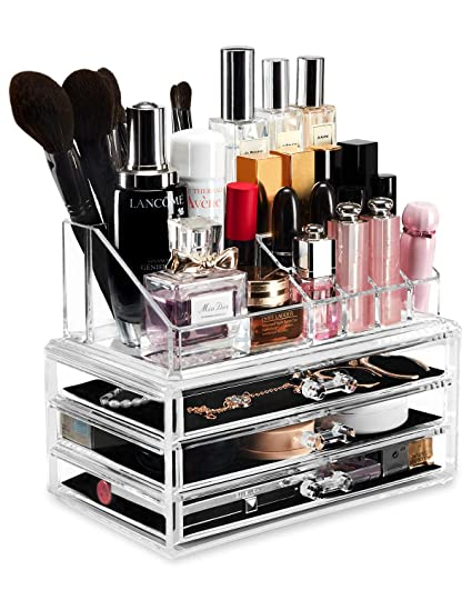 YOUDENOVA Acrylic Clear Makeup Drawer Organizers and Storage Cosmetic  Organizer, Vanity Countertop Holder 3 Drawers Clear Organizer