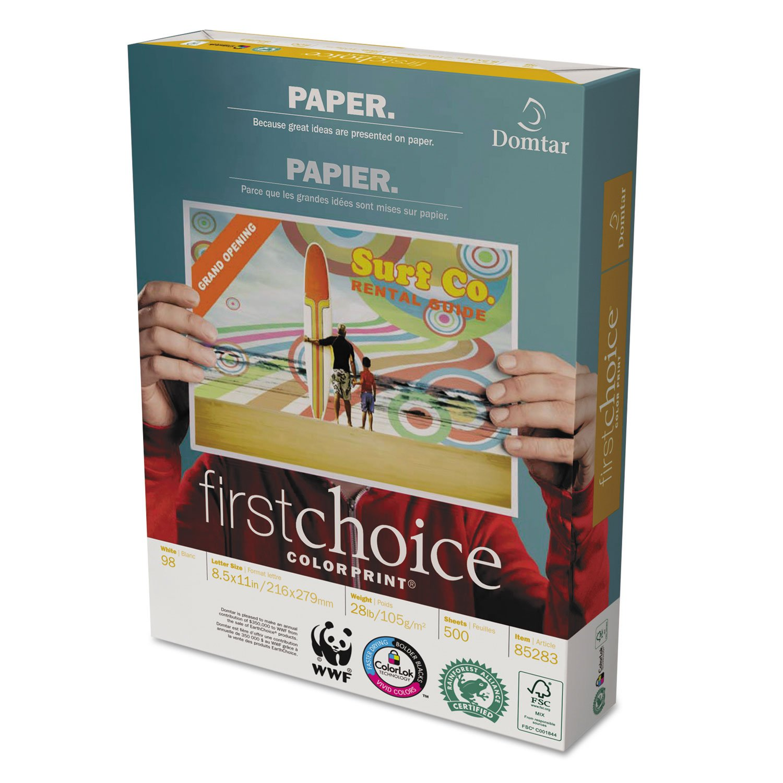 Domtar 85283 ColorPrint Premium Paper, 98 Brightness, 28lb, 8 1/2 x11, White, 500 Sheets per Ream