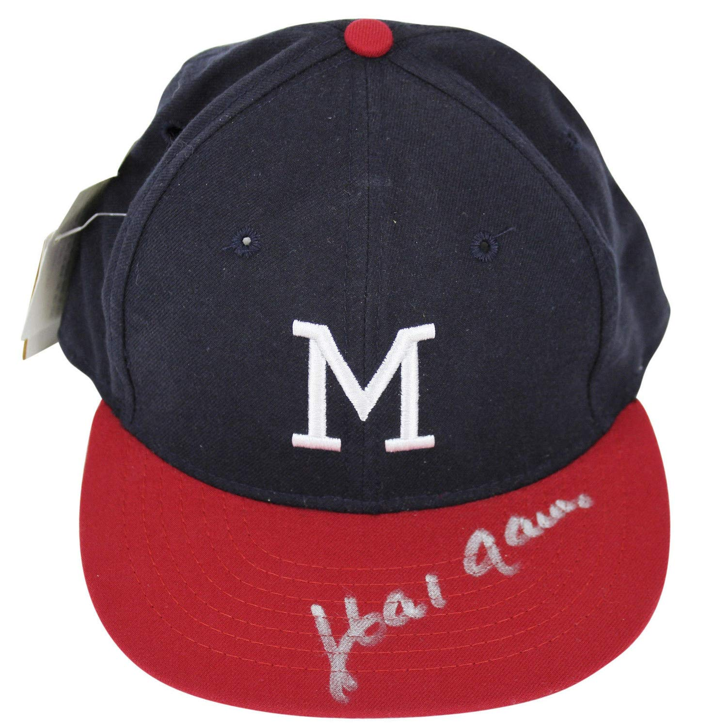 Braves Hank Aaron Autographed Signed Cooperstown Collection 1953 65 Throwback Hat Bas Certified Authentic