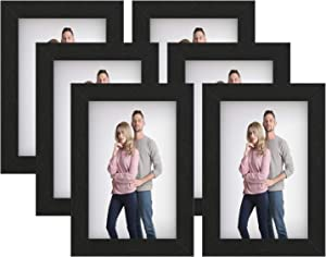 SONGMICS Picture Frames, Set of 6 Photo Frames for 4 x 6-Inch Photos, MDF, Glass Front, Black URPF043B01