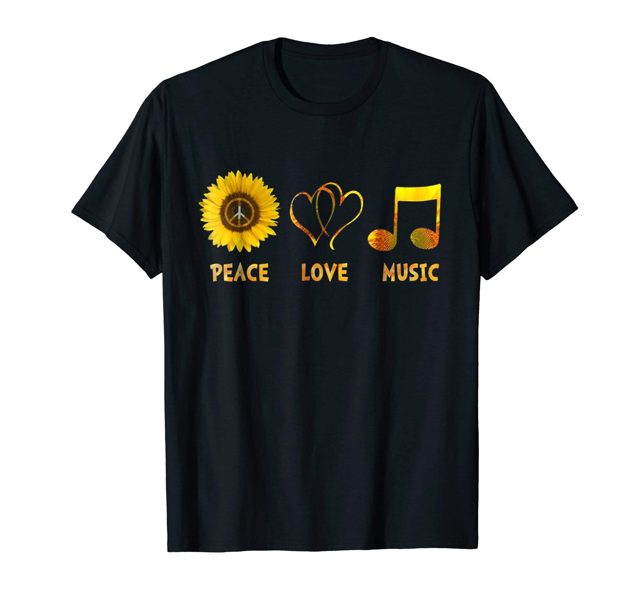 Peace love music hippie sunflower woman casual t-shirt by Peace love hippie t-shirt (Image #1)