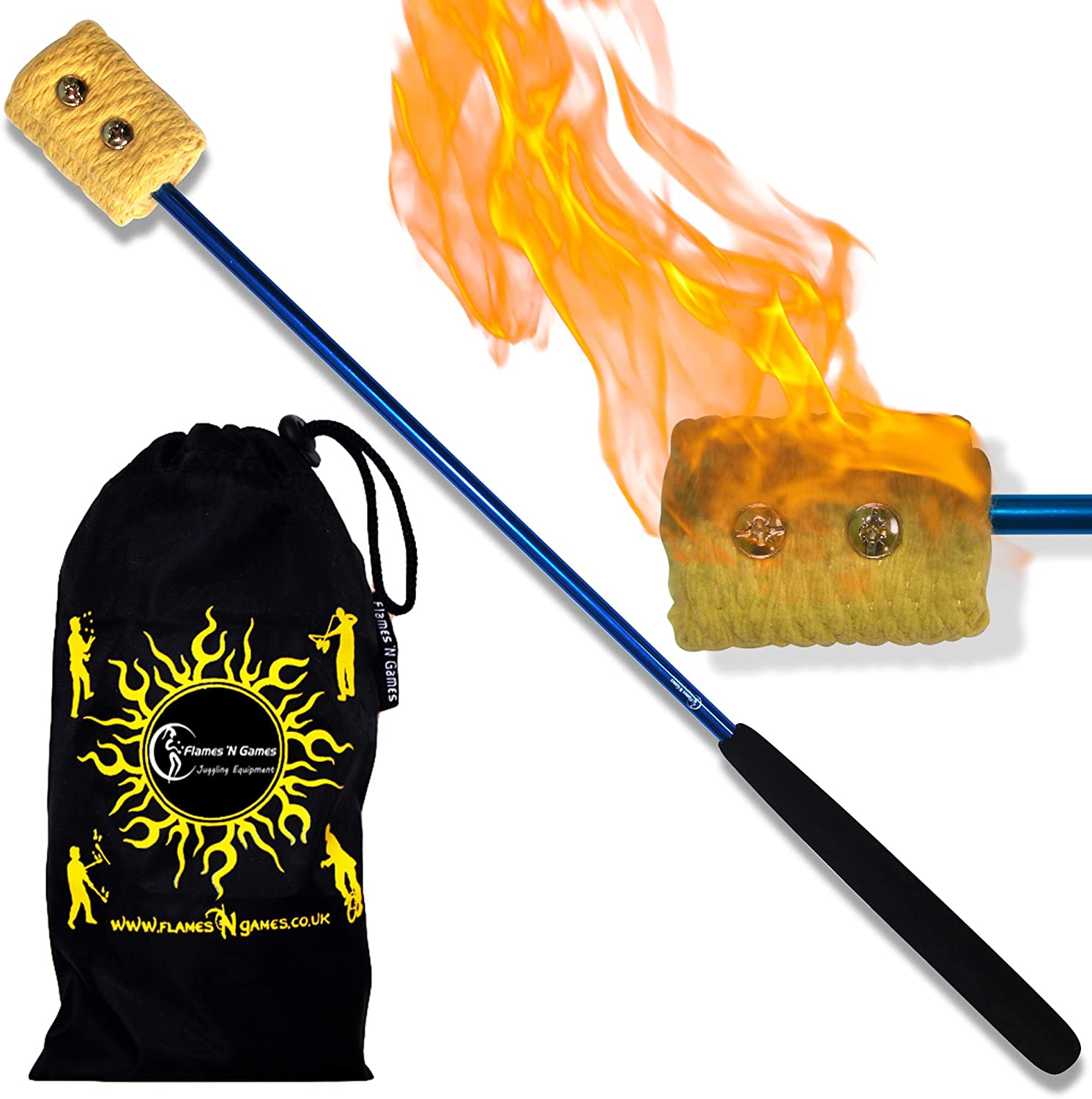 """18/"""" Fire Torch Kevlar Wick Fleshing Torches Pair Eating Torches"""