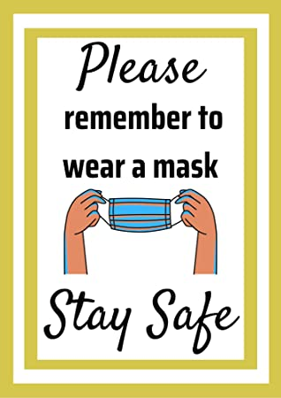PLEASE WEAR A FACE COVERING Mask Sign Sticker Beauty Hairdresser Barbers Nails