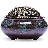 UOON Handmade Ceramic Stick Incense Burner and Cone Incense Burner Holder (Blue)