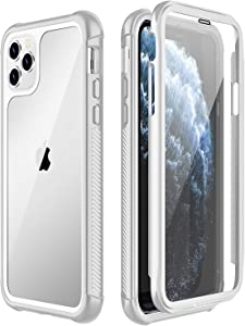 SPIDERCASE for iPhone 11 Pro Max Case, Built-in Screen Protector Full Heavy Duty Protection Shockproof Anti-Scratched Rugged Case for iPhone 11 Pro Max 6.5 inch 2019 (White+Clear)