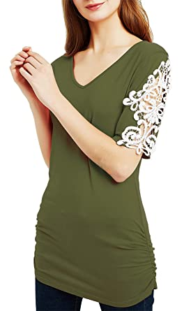 ae1cc8b1e742 DREAGAL Women Crochet Lace Sleeves Short Cut Out Sleeves V Neck Tunic Tops  Army Green S