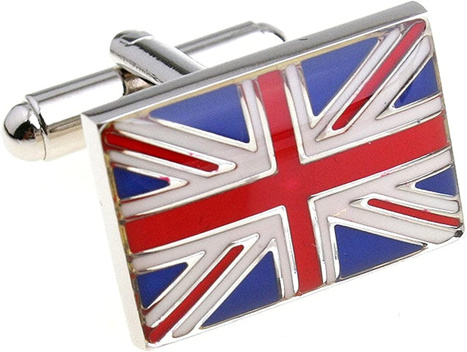 Mens Executive Cufflinks European Traveler Union Jack British Red White Blue UK Flag Cuff Links