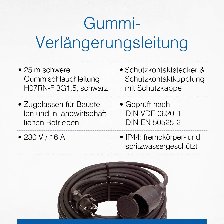 230 V // 16 A Verl/ängerungskabel IP44 as Schutzkontaktkupplung inkl Schutzkappe / 10 m Kabel mit Schutzkontaktstecker Schwabe Gummi-Verl/ängerungsleitung Schwarz I 60371