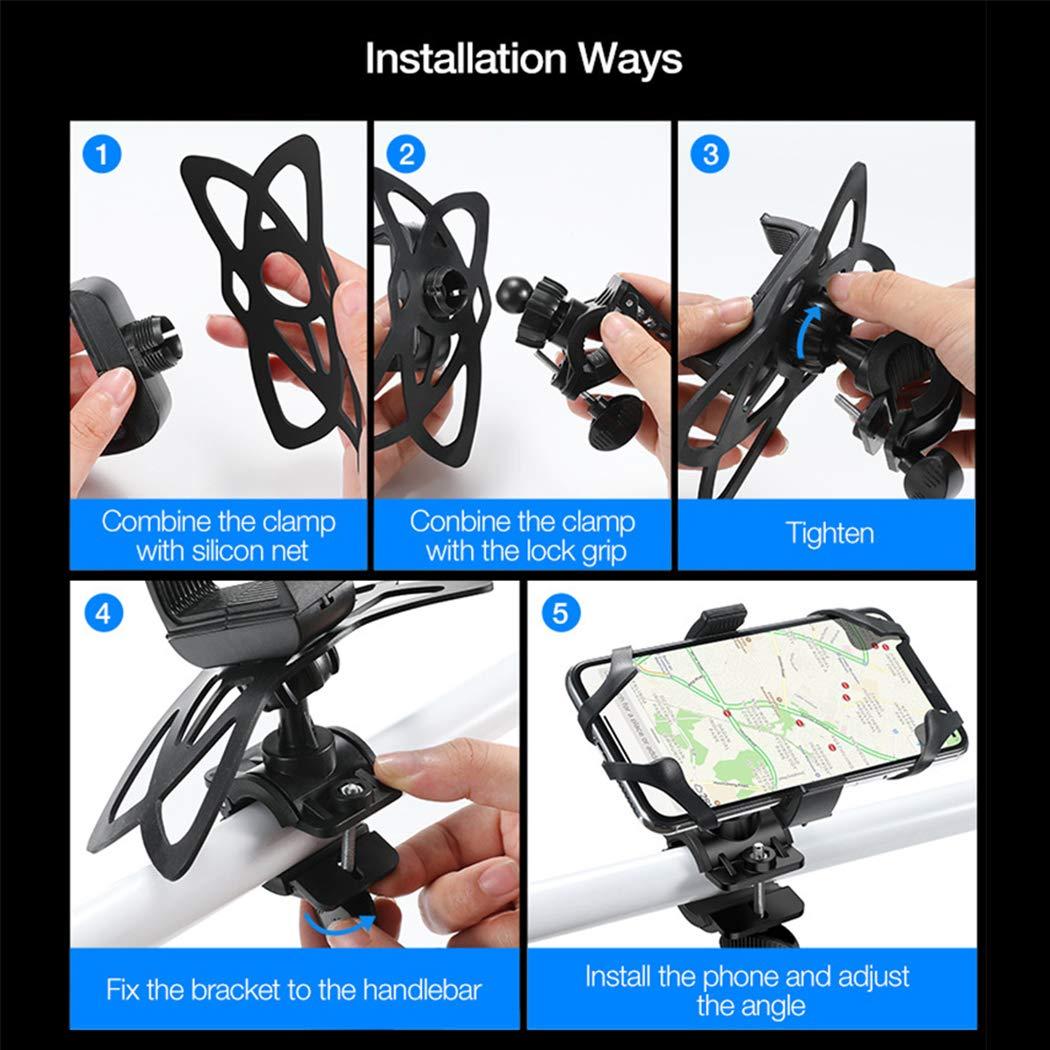 Soporte Universal para tel/éfono de Bicicleta para Smartphones de Pantalla de 3,5 a 6,8 Pulgadas Compatible con Bicicletas de Carretera y de monta/ña Motos y Scooters