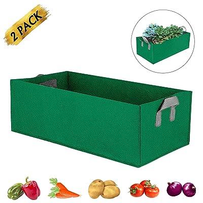 Square Planting Bag Garden Raised Plant Growth Bag with Handles,for Potato Carrot Onion Taro Radish Peanut Veg Strawberry (L, Green) : Garden & Outdoor
