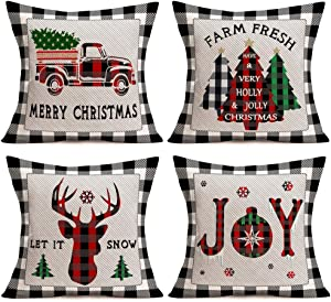 Asamour Pack of 4 Christmas Buffalo Plaids Throw Pillow Covers Winter Farmhouse Decorative Trees Truck Reindeer Snowflake Cotton Linen Joy Peace Xmas Blessings Quote Cushion Cover Pillow Case 18''x18'