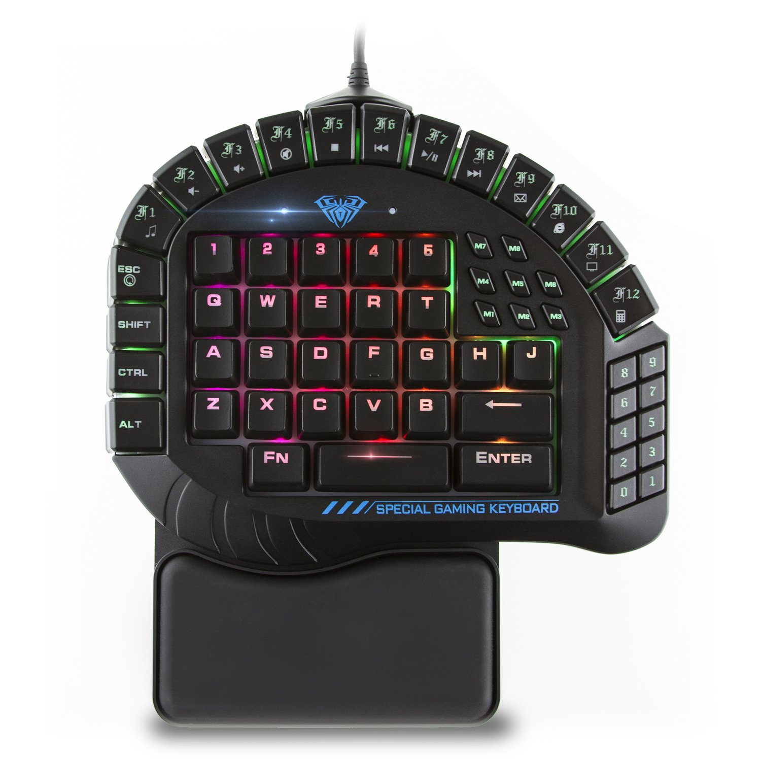 AULA 30 Progammable Keys One Handed Merchanical Gaming Keyboard – RGB Backlit Gaming Keypad, Green Switches One-Hand Keyboard with Detachable Wrist Rest