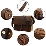 Leathario Mens Leather Briefcase Crossbody Bag
