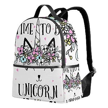 d1e1975cba7 Unicorn White Backpack for Women Teen Girls Purse Fashion Bag Bookbag  Children Travel College Casual Daypack