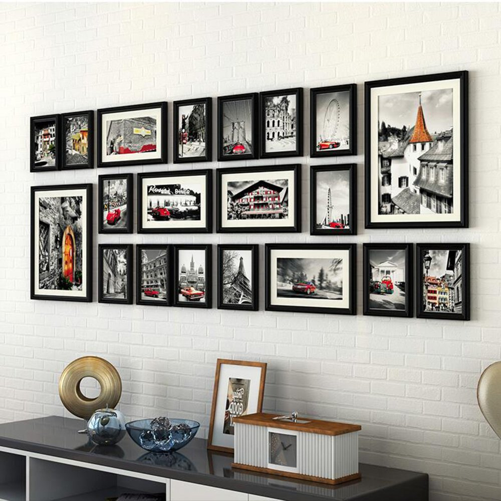 壁掛けフォトフレーム DIY 写真立て 写真用額縁 ウォール フォトデコレーション  木製 20個セット 複数枚 部屋 インテリア 壁飾り 家族の思い出 (ブラック) B01MR2TBGH ブラック ブラック