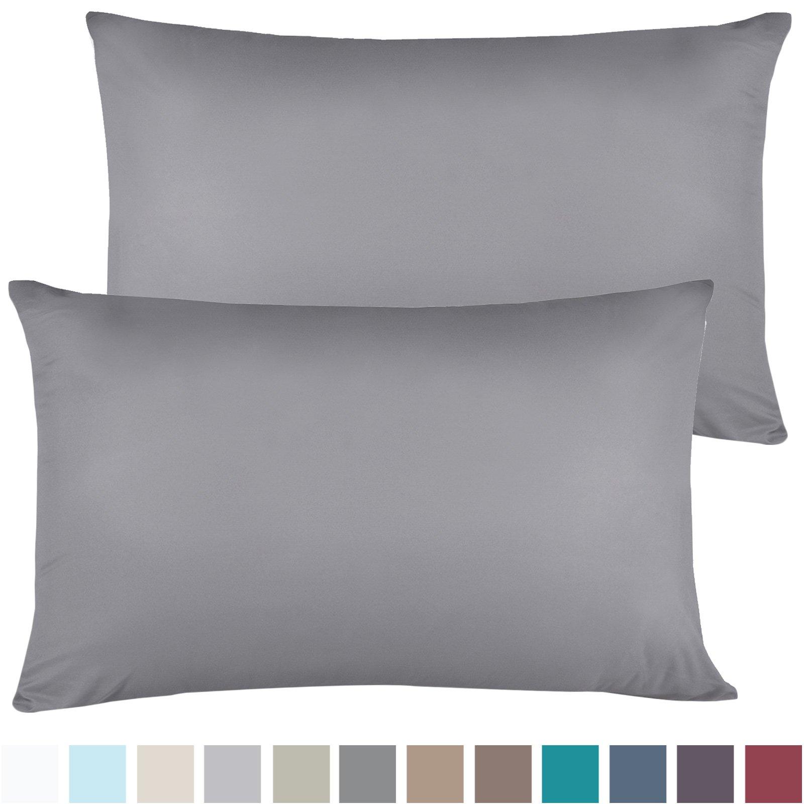 Empyrean Bedding Set of 2 Premium Standard-Size Pillowcases Microfiber Linen, Hypoallergenic & Breathable Design, Soft & Comfortable Hotel Luxury – Charcoal Gray