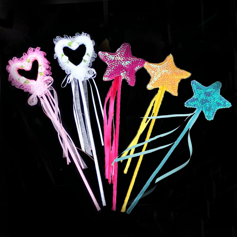 Magic Wands, Fairy Princess Wand Star Wands Sparkling Star Wand Kids Magic Wand for Party Favor, 5 PCS(3 Star Wands+2 Heart Wands )
