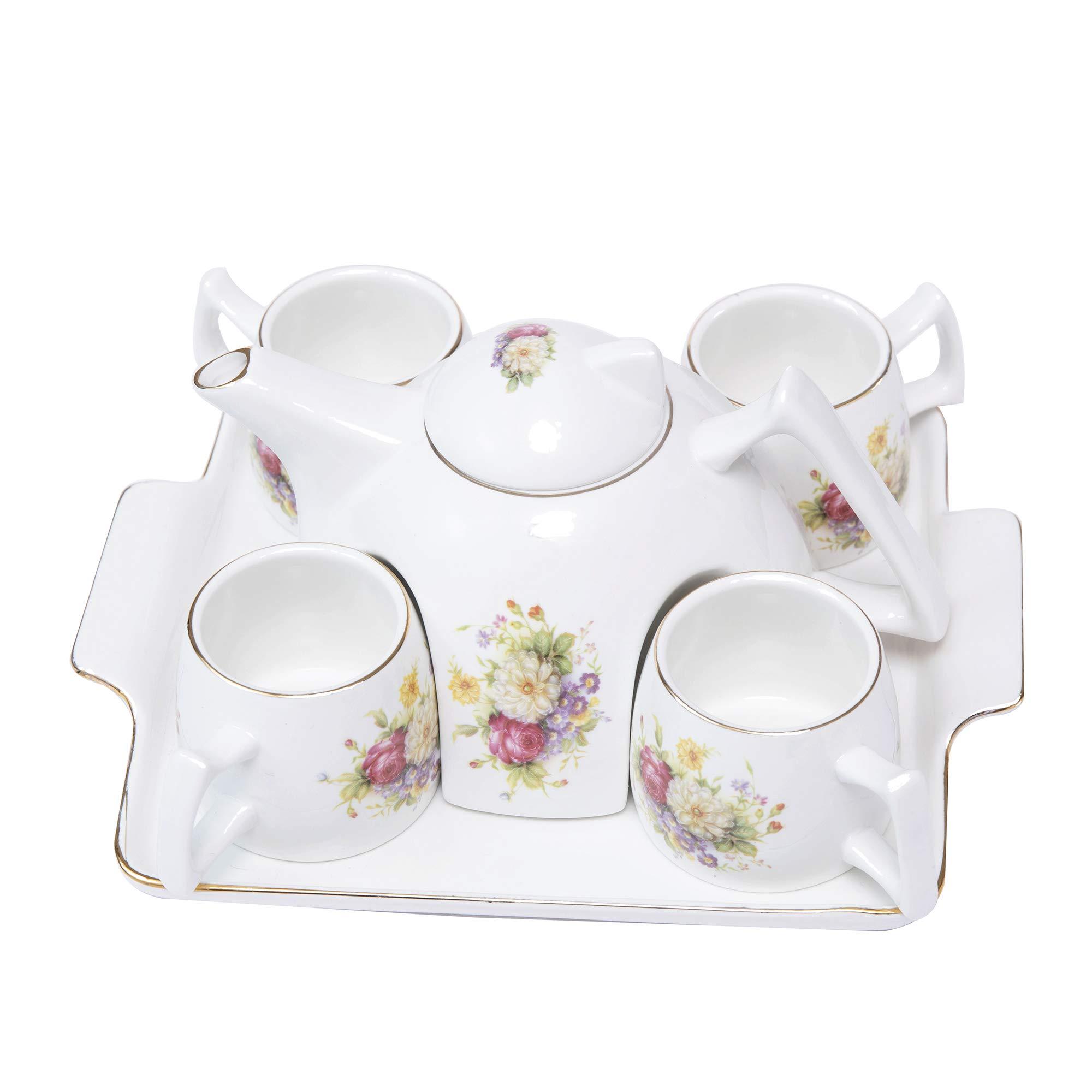 ufengke Flower Porcelain Coffee Tea Set,One Piece Large Tea Pot,4 Coffee Cups with Tray