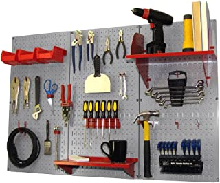 product image for Pegboard Organizer Wall Control 4 ft. Metal Pegboard Standard Tool Storage Kit with Gray Toolboard and Red Accessories