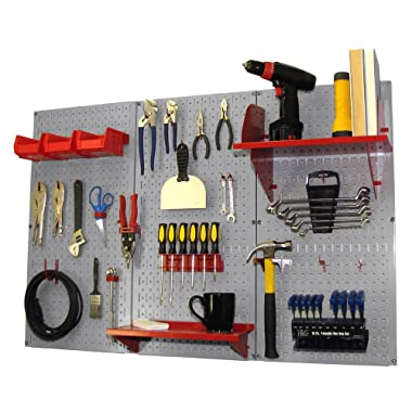 Wall Control Pegboard Organizer 4 ft. Metal Pegboard Standard Tool Storage Kit with Gray Toolboard and Red Accessories