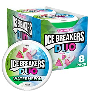 ICE BREAKERS Duo Sugar Free Mints, Watermelon, 1.3 Ounce (Pack of 8)