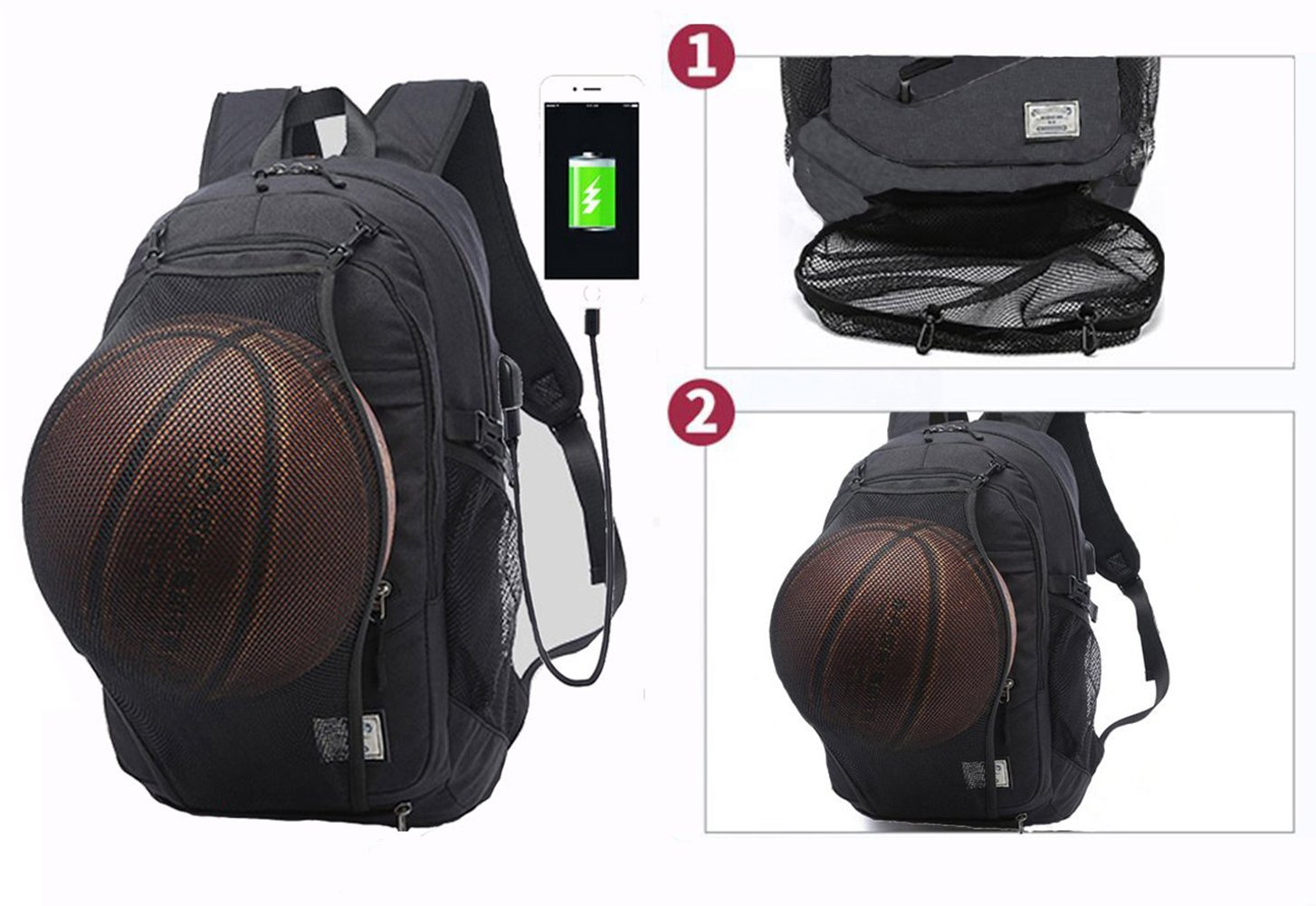 Business Laptop Backpack, Viyear Water Resisitant College Bag with Basketball Carrying Net Slim Travel Daypack Fit 15.6 Inch Computer with USB Charging Port for Women and Men Black