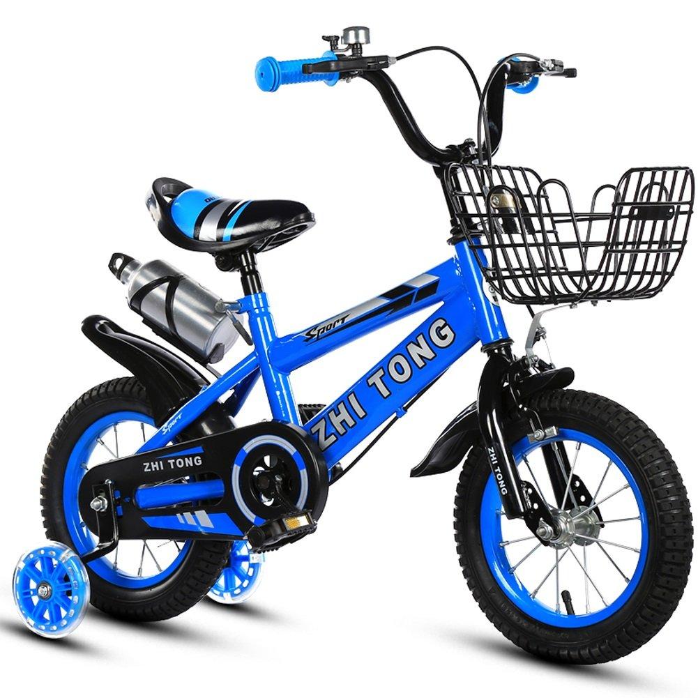 Biciclette per bambini JCOCO 2-3-5-6-8 Anni Ragazzi Ragazze Carrozzelle 12 14 16 18 Pollici con rossoella di addestramento Flash e bollitore (colore   Blu, Dimensioni   18 )
