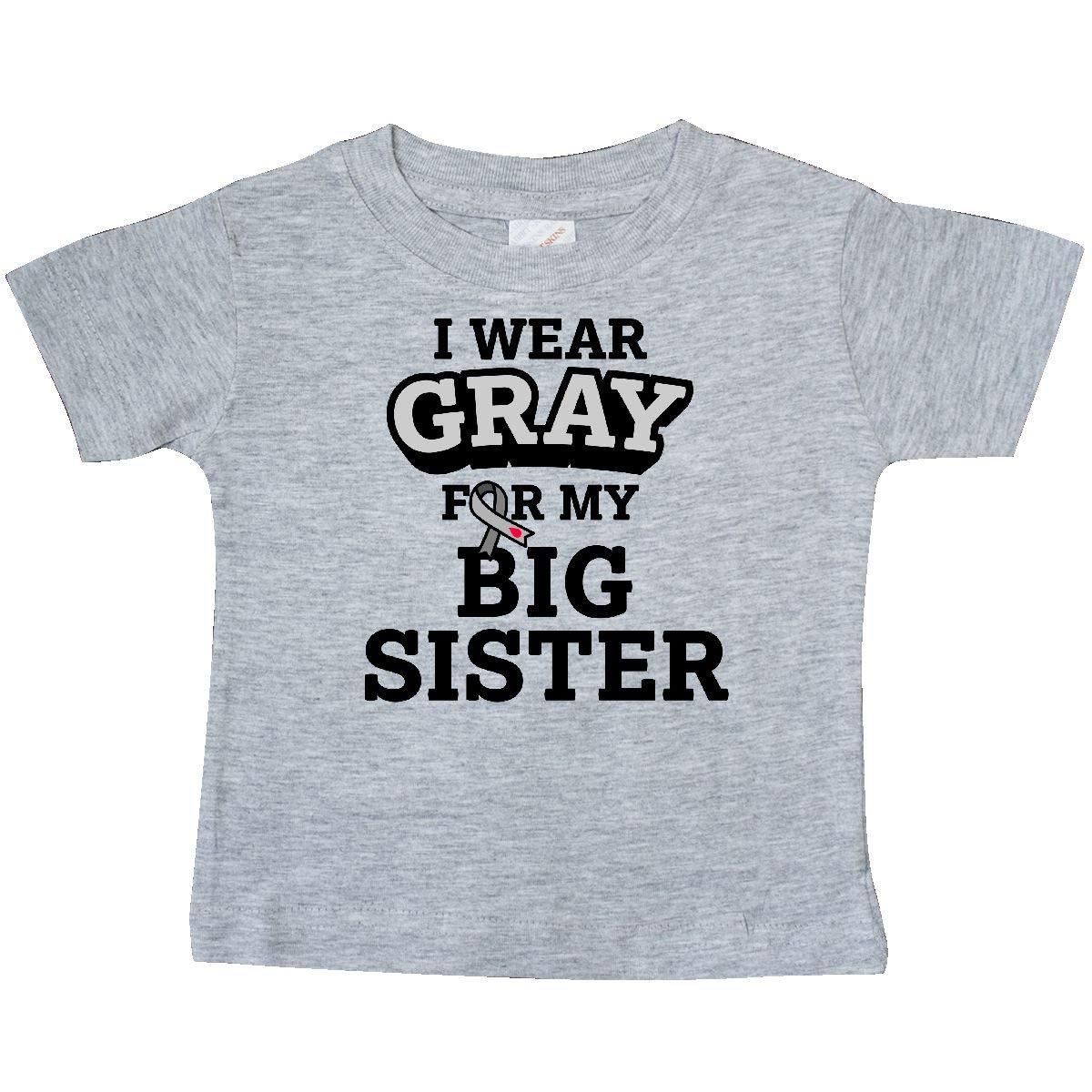 inktastic I Wear Gray for My Big Sister Diabetes Awareness Baby T-Shirt