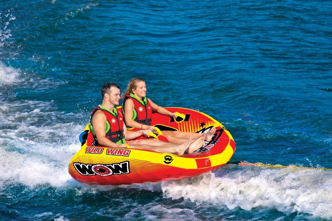 Renewed WOW Sports Towable Wild Wing Front and Back Tow Points Inflatable Raft