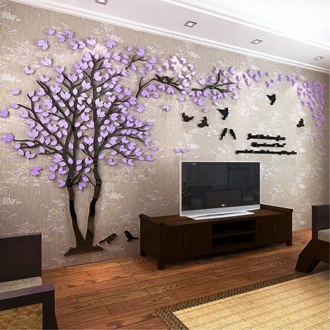 Diy 3d Riesiger Baum Paar Wandtattoos Wandaufkleber Kristall Acryl Malen Wanddeko Wandkunst L Lila Recht