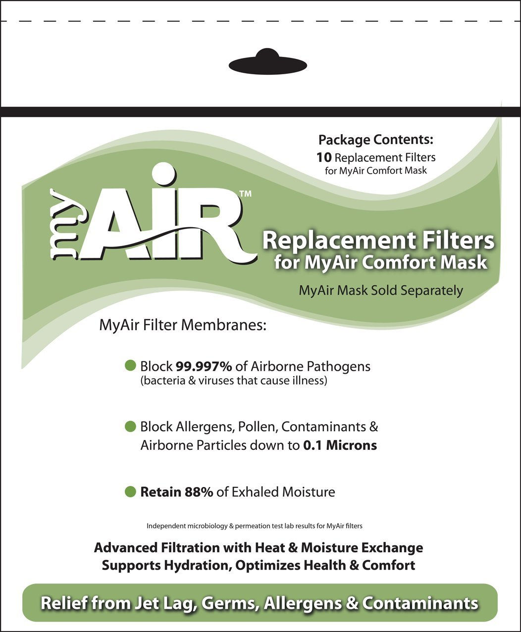 MyAir Comfort Mask Replacement Filters - 10 Pack - Made in USA by MyAir