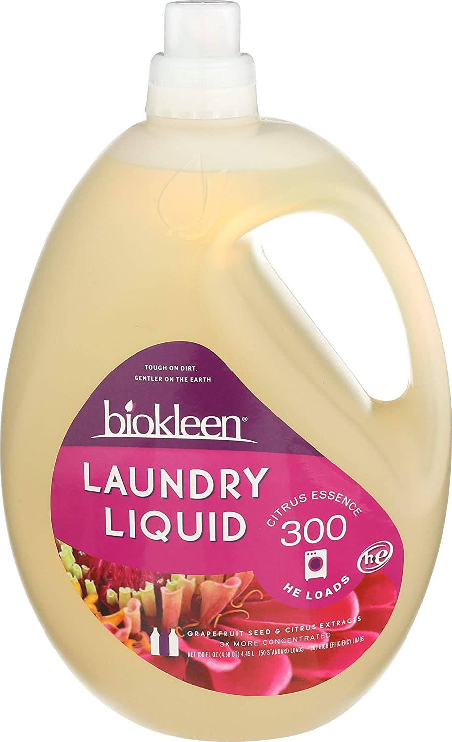 Biokleen Laundry Detergent Liquid, Concentrated, Eco-Friendly, Non-Toxic, Plant-Based, No Artificial Fragrance or Preservatives, 150 Fl Oz (Pack of 3)