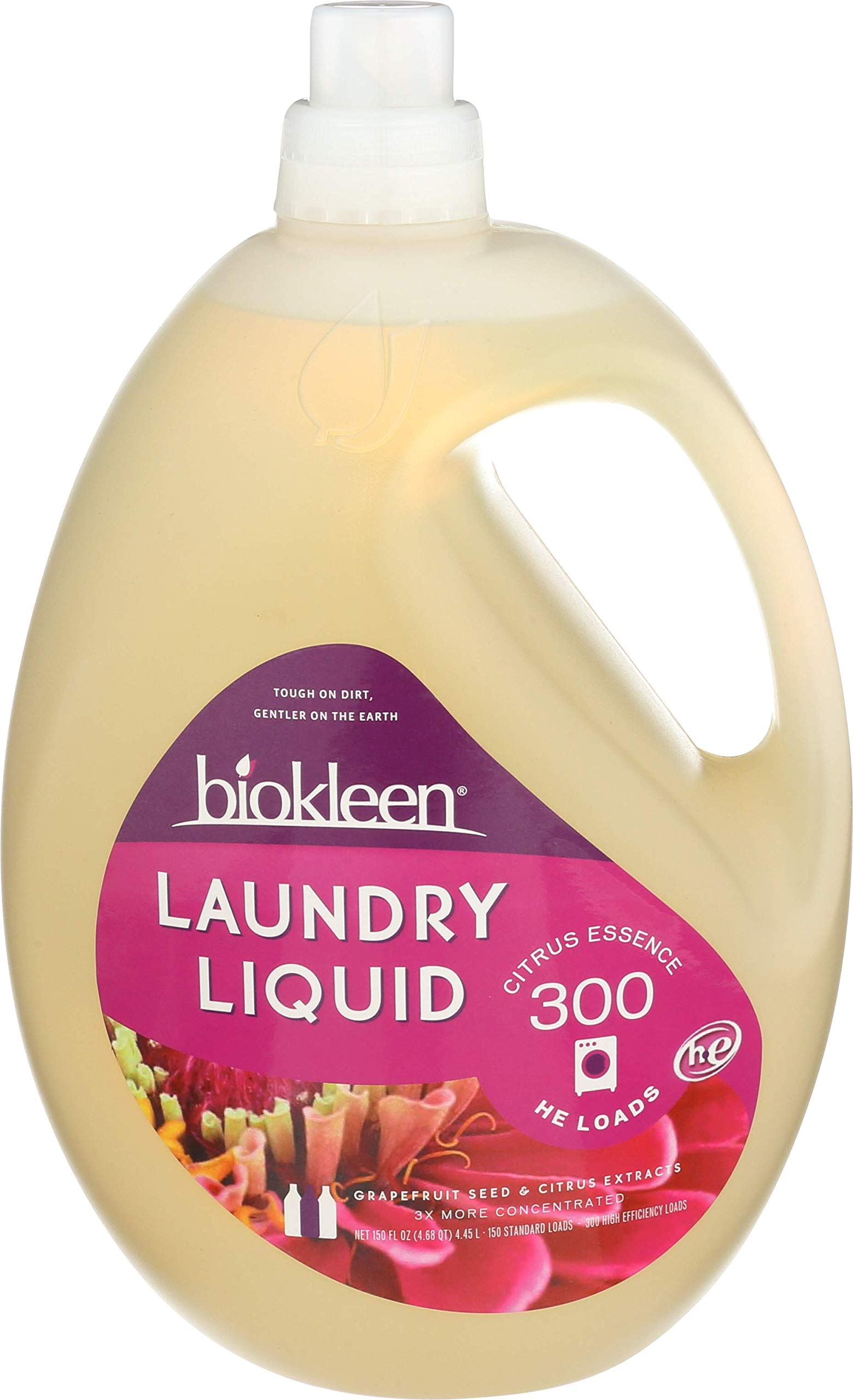 Biokleen Laundry Detergent Liquid, Concentrated, Eco-Friendly, Non-Toxic, Plant-Based, No Artificial Fragrance, Colors or Preservatives, Citrus Essence, 150 Ounces - 300 HE Loads/150 Standard Loads by Biokleen