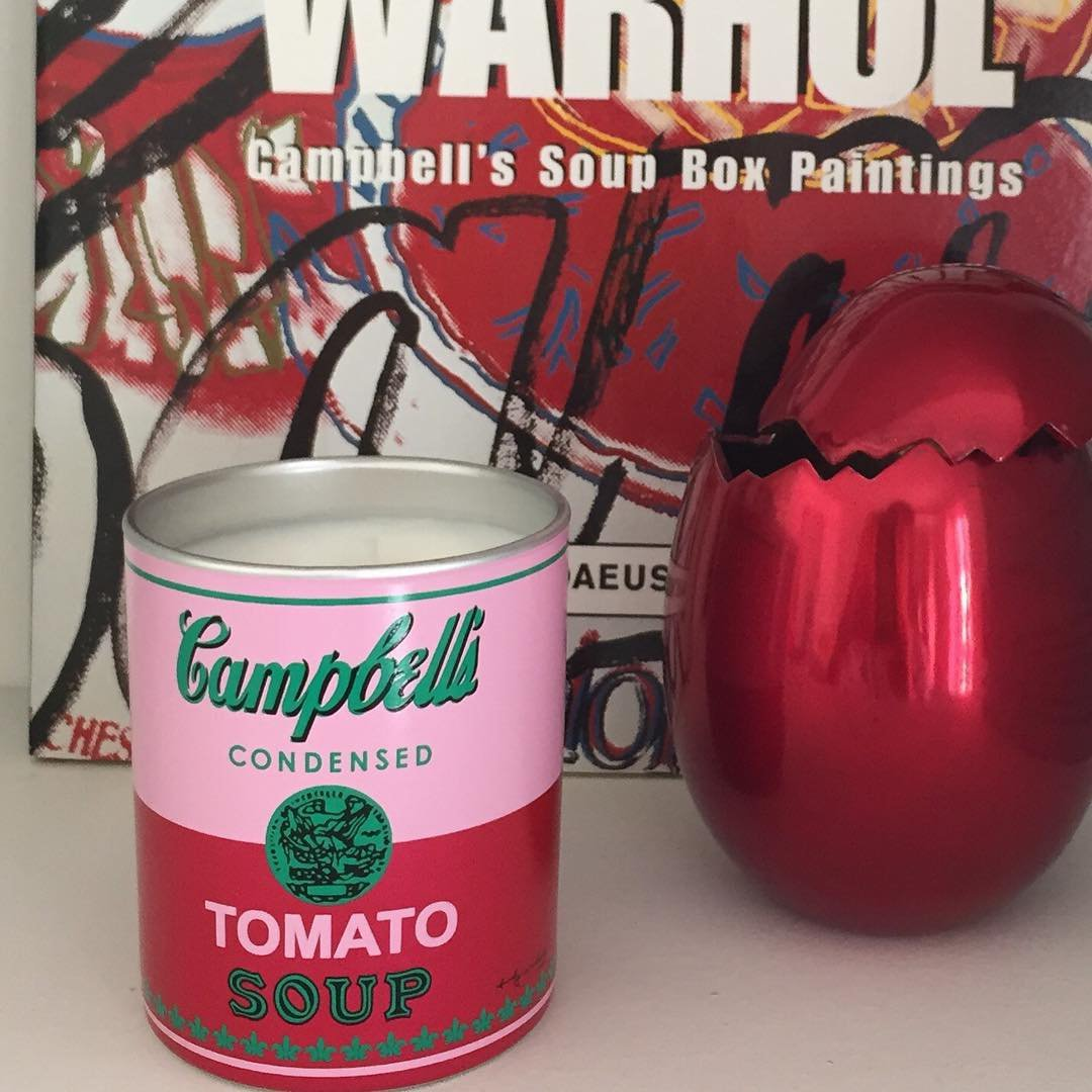 Warhol Campbell Pink/ Red Candle by Andy Warhol Candle 4.6 oz by Andy Warhol