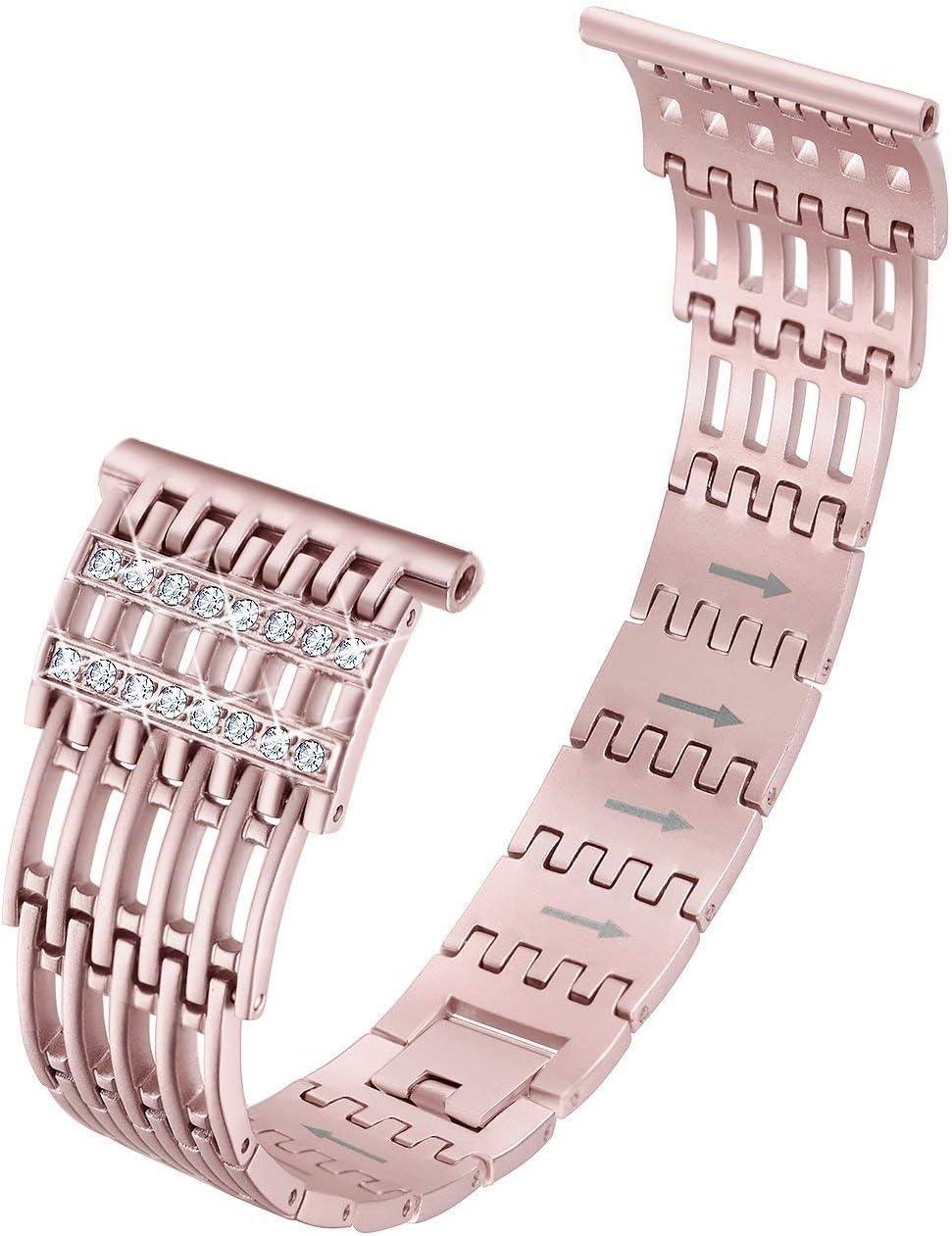 Yuehuam 腕時計バンド ステンレススチール時計バンド 交換用ストラップ ステンレススチール製中空カーブ腕時計バンド リストストラップブレスレット