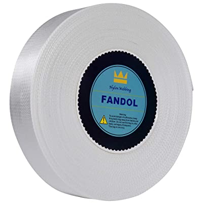 FANDOL Nylon Webbing - Heavy Duty Strapping for Crafting Pet Collars, Shoulder Straps, Seatbelt, Slings, Pull Handles - Repairing Furniture, Gardening, Outdoor Gear & More (1 inch x 10 Yards, White): Home Improvement