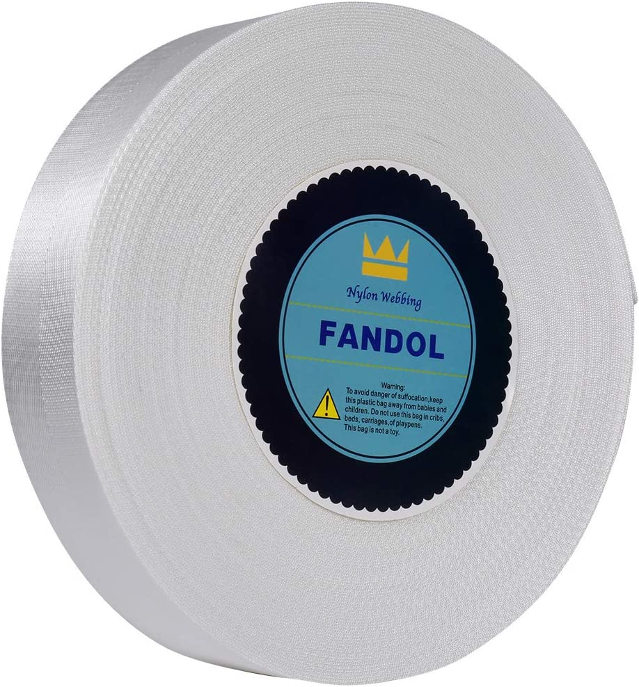 FANDOL Nylon Webbing - Heavy Duty Strapping for Crafting Pet Collars, Shoulder Straps, Slings, Pull Handles - Repairing Furniture, Gardening, Outdoor Gear & More (1 inch x 10 Yards, White)