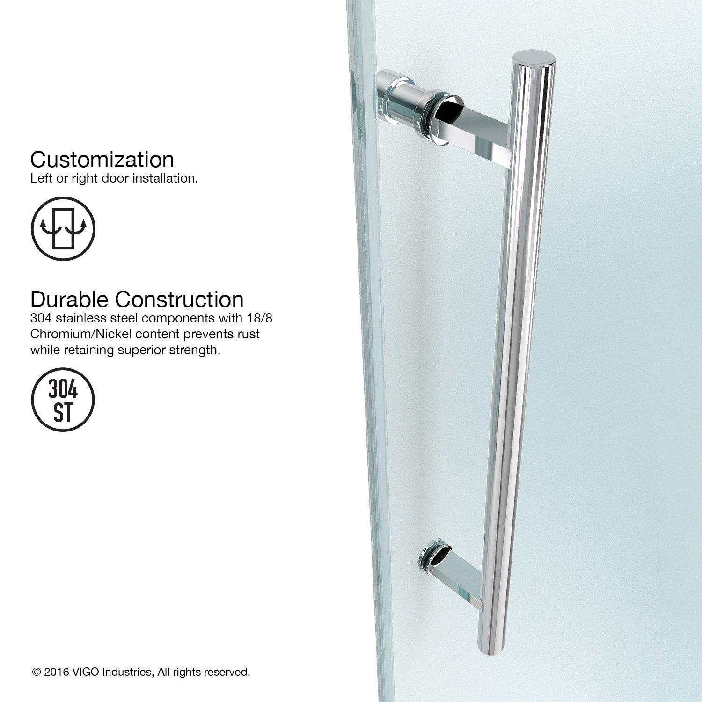 VIGO Elan 52 to 56-in. Frameless Sliding Shower Door with .375-in ...