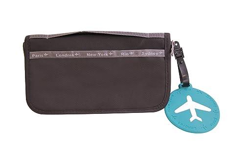Billetera / Organizador para viajes + Etiqueta para el bolso NEGRO
