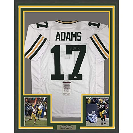 Image Unavailable. Image not available for. Color  Framed Autographed Signed  Davante Adams 33x42 Green Bay Packers White Football Jersey JSA COA e2509a9b2