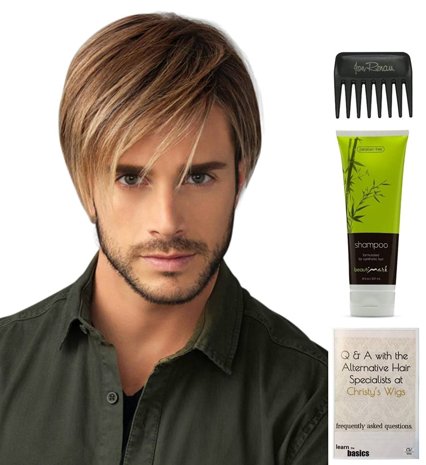 B07DV86Z7W Bundle - 4 items: Chiseled Wig by HIM, Christy\'s Wigs Q & A Booklet, BeautiMark Synthetic Shampoo & Wide Tooth Comb - Color: M1S 71Lbs9YlbPL._SL1500_