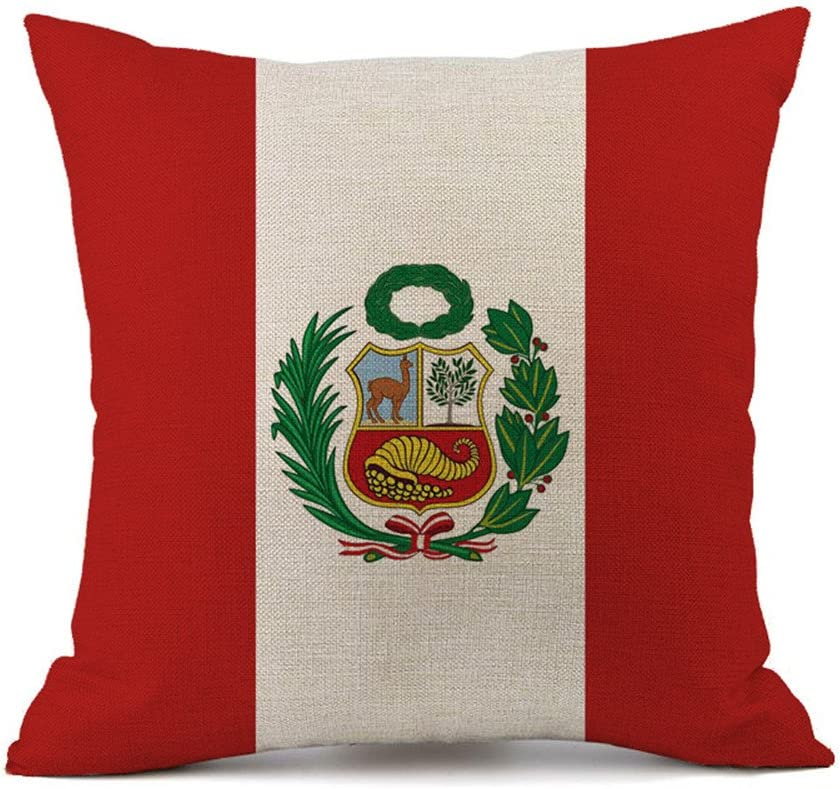 Bandera de almohada algodón Lino decorativa Funda de cojín sofá Auto Home Decor 45 x 45 cm Peru: Amazon.es: Hogar