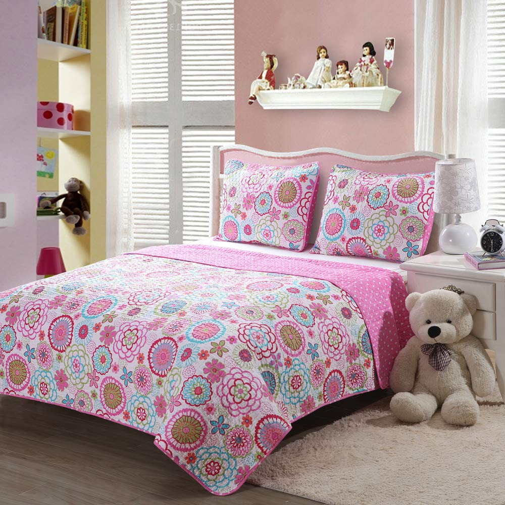 Caramel Macchiato 2PC Pink Floral Quilt Sets Reversible Polka Dot Little Girl Bed, Twin Size by Caramel Macchiato