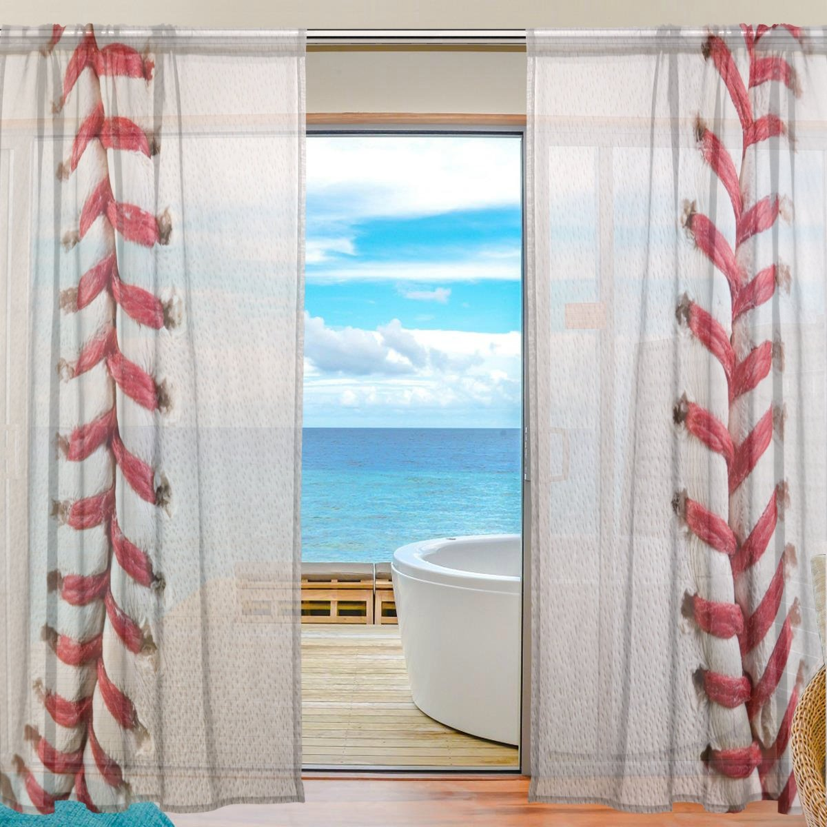SEULIFE Window Sheer Curtain Sport Ball Baseball Voile Curtain Drapes for Door Kitchen Living Room Bedroom 55x78 inches 2 Panels g2749562p113c127s169